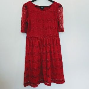 by&by red lace dress XL